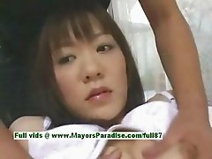 Shoko Yokoy innocent asian girl rubs her wet pussy