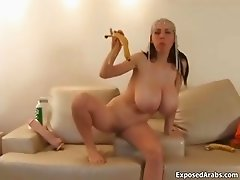 Super busty arab slut gets horny playing part3
