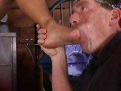 Two sexy lesbians foot femdom