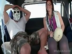 Cute amateur talked into sex in the bus
