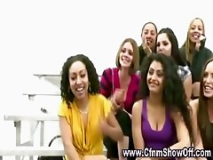 CFNM girl shows amateur friends how to suck cock