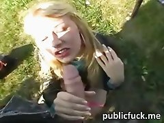 Nasty blonde chick gets fucked in the park for a mouth full of sperm