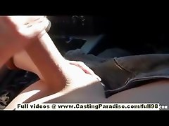 Bettina DiCapri independent hot chick learning to drive and doing blowjob outdoor