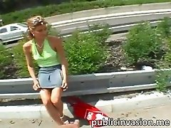 European blonde amateur Olivia has a public sex by the train tracks and gets facialized for cash