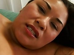Asian chubby on her side taking a hard fucking
