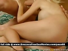 Two amazing hot babes in bed get a blowjob