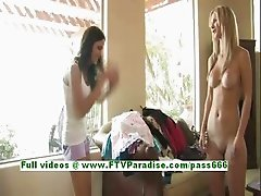Kirsten and Natalie hot brunette and blonde having fun