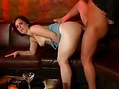 Brunette whore with sexy tushy gets facial after riding a cock