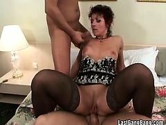 Three big cocks destroying mature pussy