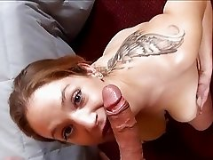 Hot tattooed momma with big bosom sucks hard tool on her knees