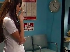 Nasty brunette nurse takes hard meatpole up her tight ass