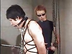 Watch bondage scene with gagged and chained asian guy