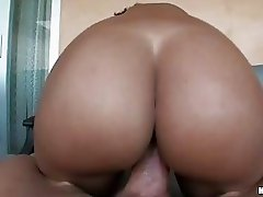 Big ass ebony babe with pierced nipples gets her beaver rammed