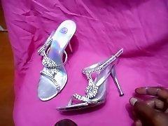 heels shoe wife silver heels wank