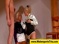 Satin babes and guy have piss fest