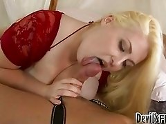 Pale blonde with extra large knockers sucks stiff cock