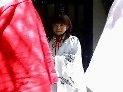 Horny Japanese teen in kimono sucking cocks