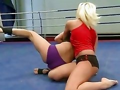 Pretty hot blondes fighting for lesbian sex