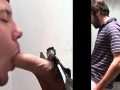 Beardy straight guy enjoys gay BJ on gloryhole