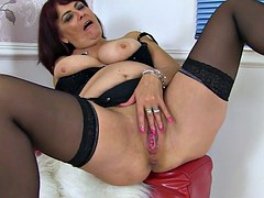 Christina x uk milf stuffs her pussy with a big dildo black