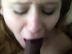Hot White GF Deepthroats a BBC!