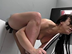 Charming brunette wait passionately and sucks a big glory-hole dick