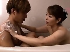 Attractive Japanese mom has torrid sex with a young stud