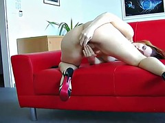 Redhead milf sanna puts her tight pussy with a toy