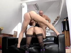 British MILF anal fucked in MMF threesome with older guys