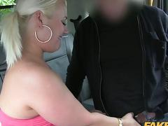 Chubby blonde babe screwed by the driver