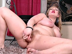 Suck her hairy pussy long as she squirts