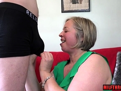 Hot milf blowjob with cumshot