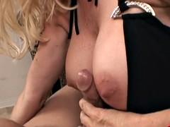 Hot milf giving blowjob and titjob