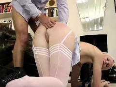 Young blonde in stockings sucking older British dudes cock