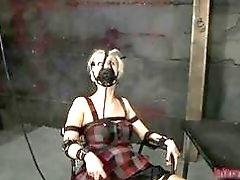 Blonde woman toyed while having bondage fuck session BDSM porn