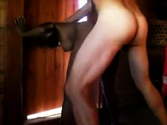 Busty black babe gets pumped full of white meat from behind
