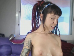 Milk From Squirting Dildo On My Face And Tits