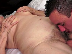 Hairy mature titfucked after oral