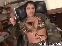 Stocking Babe Nicki Rubbing Her Cunt