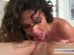 Mature beauty toys young pussy till orgasm