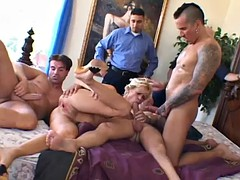gorgeous blonde gets double penetrated by two horny fellas