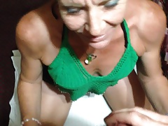 Whore gagging on my cock