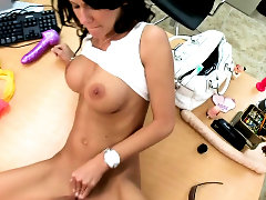 Milf stretches buttocks to give way for a large shlong