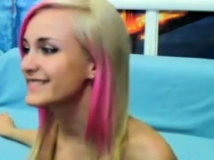 Blonde And Pink Haired Cam Slut