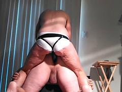 L j linking with white satin panties