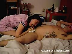 Asian girl sucks and fucks