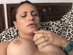 Busty shemale Tayssa Tally playing with her cock