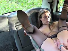 Female cab driver fisting sexy customer