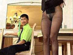 Russian mature in black stockings licked and fucked