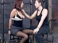 Busty slave gives her tits to lezdom mistress BDSM porn